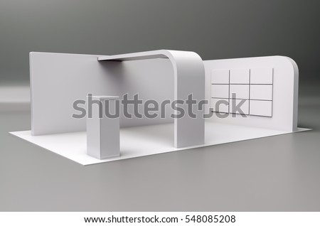 Exhibition stand plain white used for mock-ups and branding and Corporate identity.3d illustration