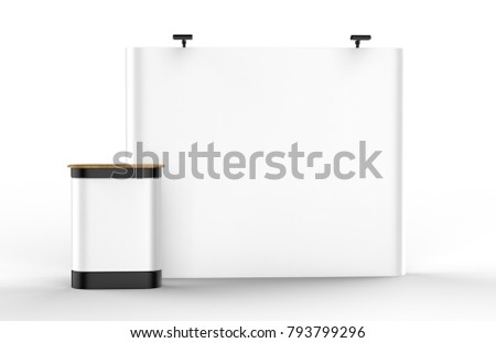 Exhibition Tension Fabric Display Banner Stand Backdrop for trade show advertising stand with LED OR Halogen Light with counter. 3d render illustration.