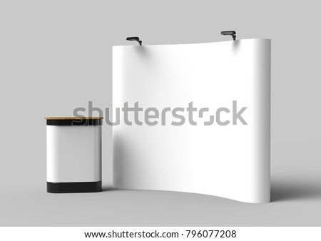 Exhibition Tension Fabric Display Banner Stand Backdrop for trade show advertising stand with LED OR Halogen Light with pop up counter. 3d render illustration.