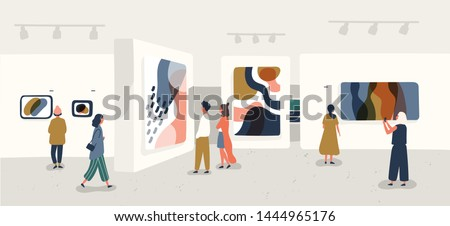 Exhibition visitors viewing modern abstract paintings at contemporary art gallery. People regarding creative artworks or exhibits in museum. Colorful illustration in flat cartoon style.
