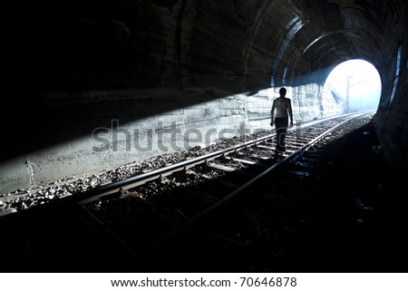 Exit from darknes - Light at end of tunnel #70646878