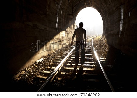 Exit from darknes - Light at end of tunnel #70646902