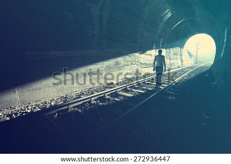 Exit from darkness - Light at end of tunnel #272936447
