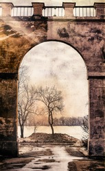 Exit from the yard through the old archway.After the tree is light.The light of hope.