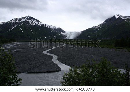 Exit Glacier, The Exit glacier flawing down the valley as it melts. Taken at Kenai Mountains, Kenai Peninsula, Alaska, USA.
