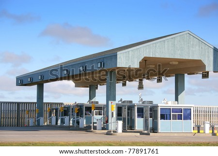 Exit of the multi lane toll booths of the Confederation Bridge, Prince Edward Island, Canada.