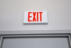 Exit sign above the door