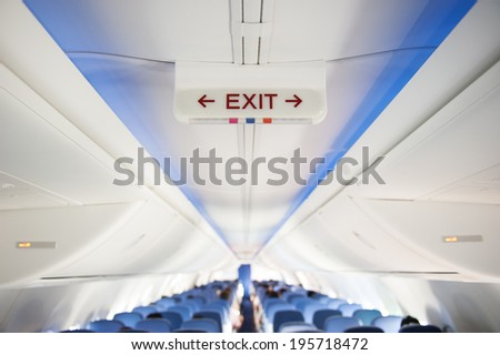 Exit sign in an aircraft interior
