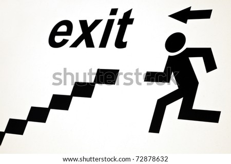 Exit sign in industrial area