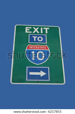 exit to Interstate 10 sign with arrow