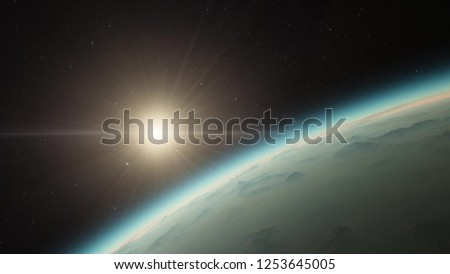 Exoplanet 3D illustration sunset orbital view, light green cloudy planet from the orbit, world (Elements of this image furnished by NASA) #1253645005