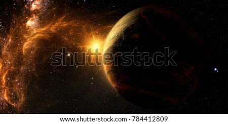 Exoplanet Exploration - Fantasy and Surreal Landscape. 3D Rendered. Elements of this image furnished by NASA