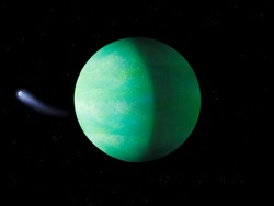 Exoplanet in space. Beautiful abstract background. Green planet with a solid surface 3d illustration.
