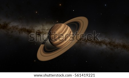 Exoplanet with rings gas giant Saturn planet 3D illustration (Elements of this image furnished by NASA) #561419221