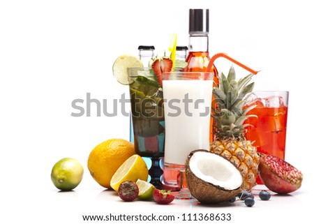 Exotic alcohol drinks set with fruits isolated on white background