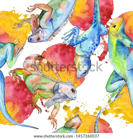 Exotic animal wild animal. Watercolor background illustration set. Watercolour drawing fashion aquarelle isolated. Seamless background pattern. Fabric wallpaper print texture.