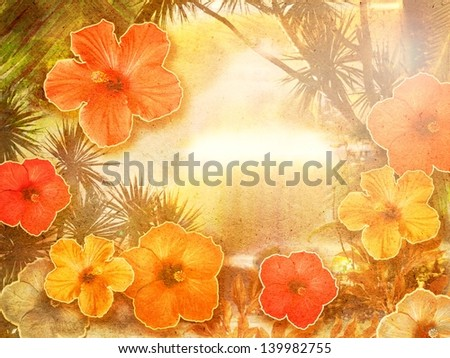exotic background collage with hibiscus flowers