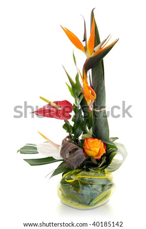 Exotic bouquet on white background