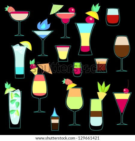 Exotic cocktails collection in neon colors. Raster copy, vector file also available