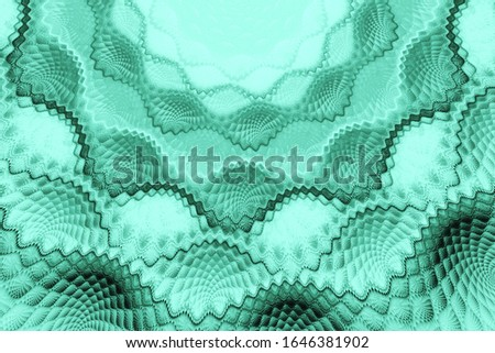 Exotic flower.3D surreal illustration.Sacred geometry.Mysterious relaxation pattern.Fractal abstract texture.Modern trend color 2020-Aqua Menthe Stock photo ©