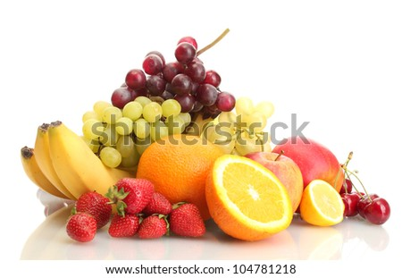exotic fruits and berries isolated on white