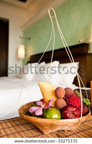 exotic fruits in the hotel room
