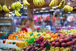 exotic fruits on european market counter
