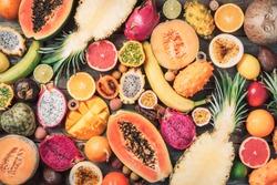 Exotic fruits - pineapple, papaya, mango, annona, banana, pitahaya, kiwano, african horned melon, tamarillo fruit, granadilla, salak, snake fruit, maracuya, rambutan, lychee, longan, tamarind