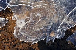 Exotic Ice Formations on Frozen River