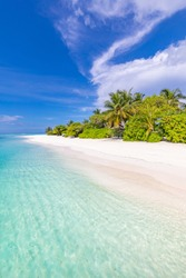 Exotic island landscape. Vertical beach banner for summer holiday and vacation, travel tourism concept with blue sky, white sand, palm trees, idyllic mood.Best tropical beach for wallpaper, background