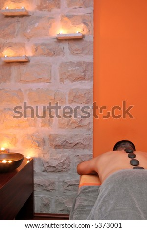 Exotic massage room in wellness center.