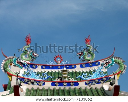 Exotic Oriental temple roof