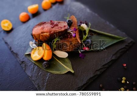exotic restaurant gourmet food...