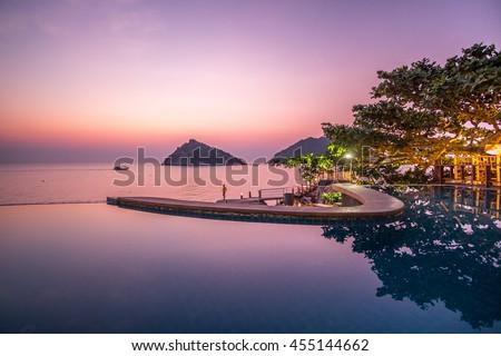 Exotic Romantic Sunset Pool Villa Resort Panoramic View Collide with Summer Pacific Tropical Ocean Koh Tao and Nang Yuan Thailand #455144662