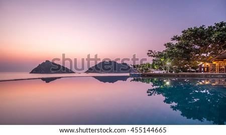 Exotic Romantic Sunset Pool Villa Resort Panoramic View Collide with Summer Pacific Tropical Ocean Koh Tao and Nang Yuan Thailand #455144665