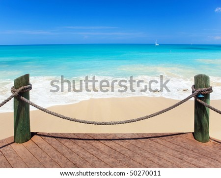 Exotic sea under a blue sky