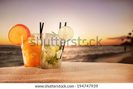 Exotic summer drinks , blur sandy beach on background #194747939