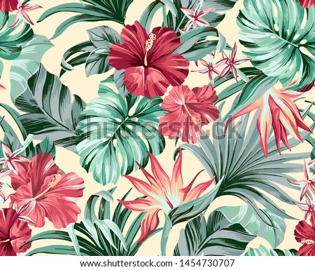 Exotic tropical flowers in trendy colors  artwork for tattoo, fabrics, souvenirs, packaging, greeting cards and scrapbooking,bed linen,wallpaper