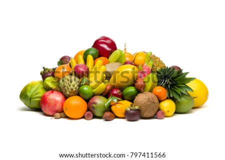 Exotic tropical fruits isolated on white background, healthy food, vegetarian diet