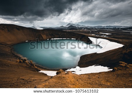 Exotic view of the geothermal valley Leirhnjukur. Location Myvatn lake, Krafla, Iceland, Europe. Amazing image of tourist attraction, most popularly photographed areas. Discover the beauty of earth.