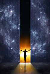 Expand boundaries concept. Woman silhouette opens the gate from starry night room into the sunrise. Elements of this image furnished by NASA.