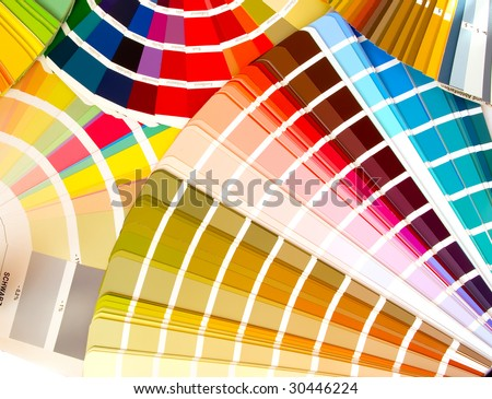 expanded fans of color samples guids - stock photo