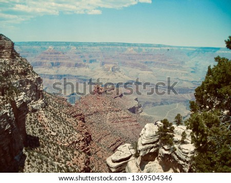 Expansive view of Grand Canyon National Park, Arizona, United States of America (vintage/dramatic)