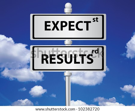 Expect and results signpost on sky background