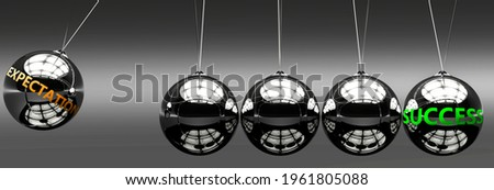 Expectation and success - the idea that Expectation helps to achieve success and happiness in business, work and life symbolized by English word Expectation and a newton cradle, 3d illustration Foto stock ©