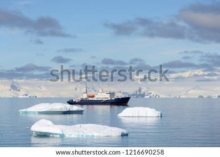 Expedition ship with iceberg in Antarctic sea