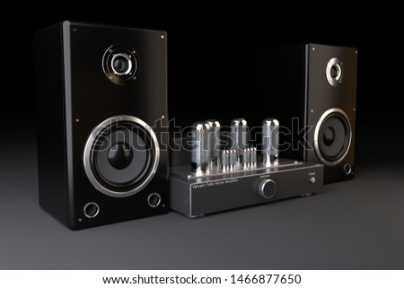 Expencive vacuum tube power amplifier with high end stereo acoustic system. 3d