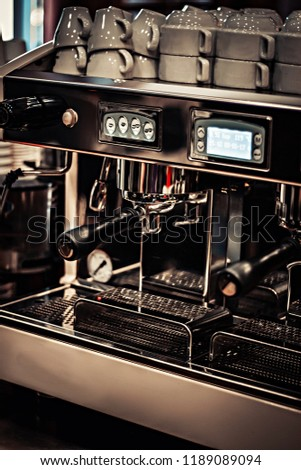 expensive and beautiful coffee machine with glasses for coffee #1189089094