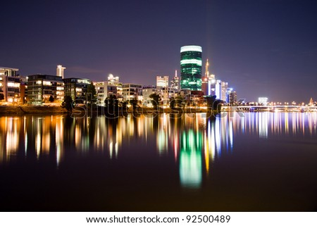 Expensive aparments and offices on the river in Frankfurt at night