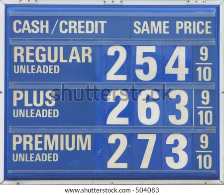 Expensive gas sign.